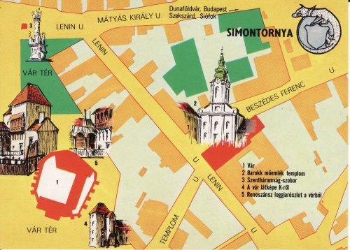 Simontornyai térképes képeslap