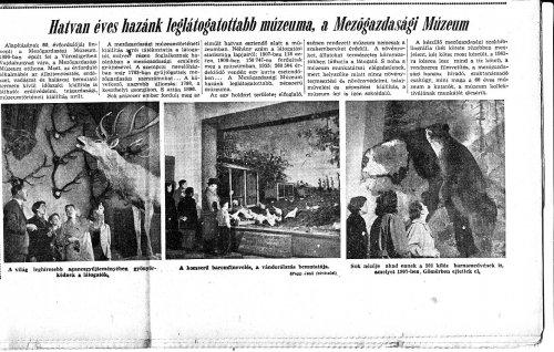 Mezőgazdasági Múzeum hatvan éves