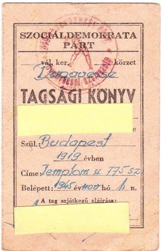 Szociáldemokrata Párt - tagsági könyv