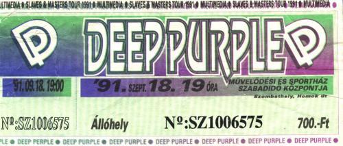 Deep Purple koncertjegy