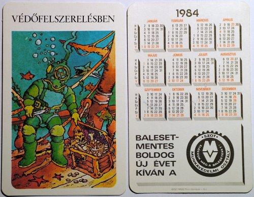 Szot kártyanaptár 1: Védőfelszerelésben. 1984