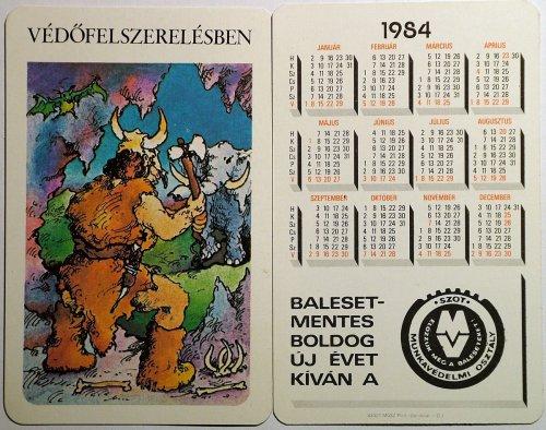 Szot kártyanaptár 3: Védőfelszerelésben. 1984