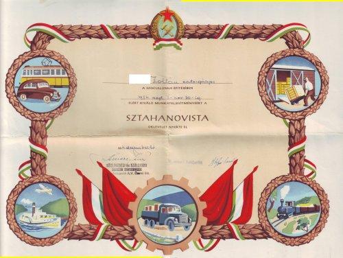 Sztahanovista oklevél 1954