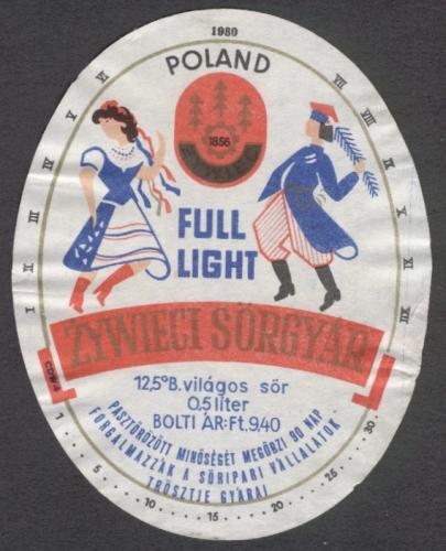Táncos sörcímke Zywieci 1980