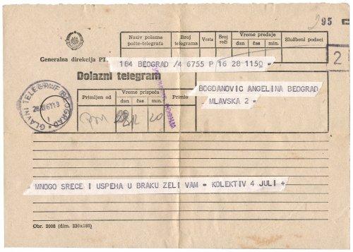 Beérkező telegramm (Jugoslavia)