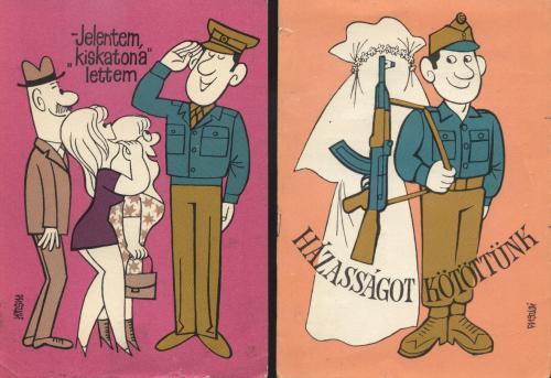 Vidám katonás képeslapok