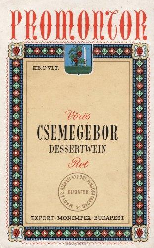 Vörös csemegebor italcímke