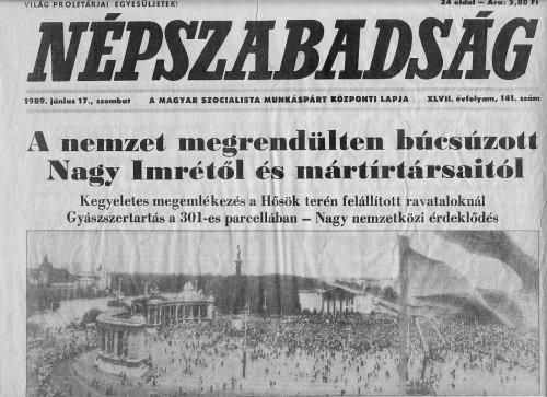 Tudósitás Nagy Imre és mártirtársainak újratemetéséről