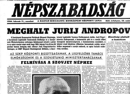 Jurij Andropov elhunyt
