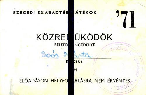 Szegedi Szabadtéri Játékok közreműködői belépője