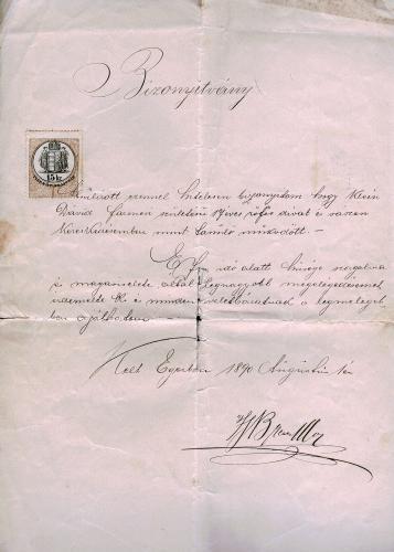 Bizonyítvány és ajánlólevél 1890. augusztus 1.