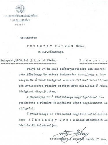 Keviczky Kálmán: Horthy Miklós festményének elismerése