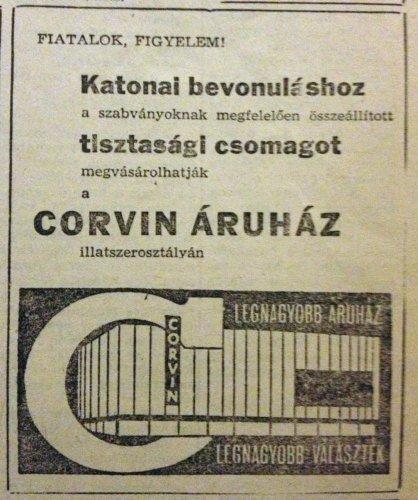 Corvin Áruház hírdetés