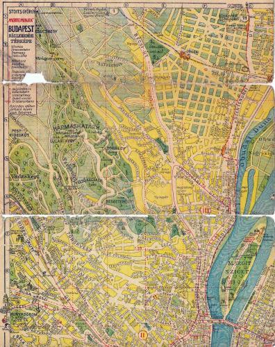 BSZKRT térkép budai oldal északi része Margit szigettel,  1942