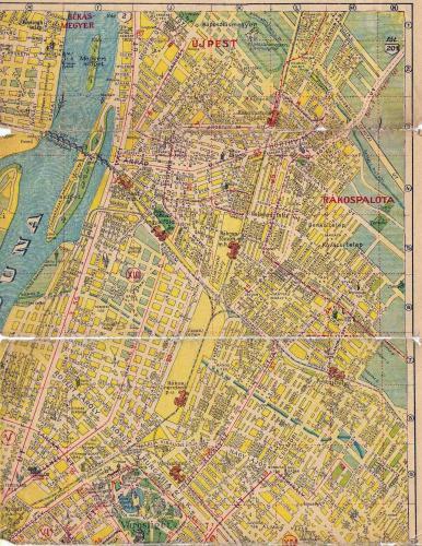 BSZKRT térkép pesti oldal északi része Újpesttel, Rákospalotával 1942