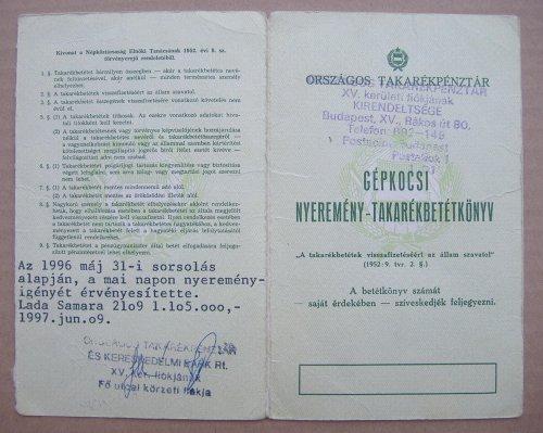 OTP Nyereménybetétkönyv