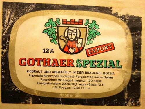 gothaer spezial sör címke