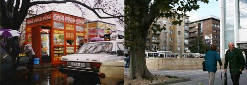 Hamburger és Pék bódé a Budai Skála piac sarkánál