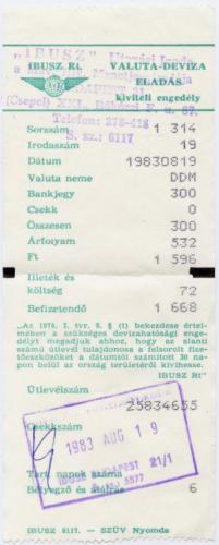IBUSZ valutaváltási bizonylat