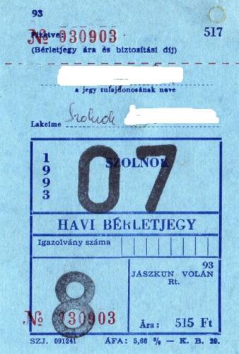 Jászkun Volán havi bérlet 1.