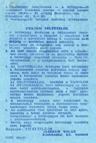 Jászkun Volán havi bérlet 2.