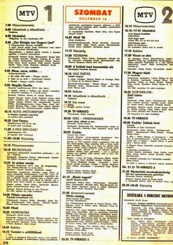 Televízió műsor 1982.12.18.