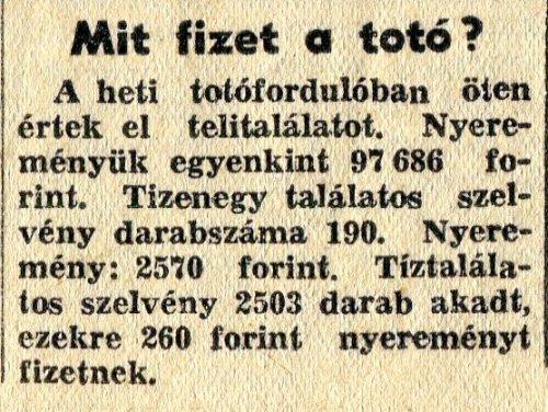 Mit fizet a totó? 1957. március 19.