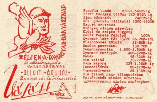 IX. Bányásznapi Vásár, Tatabányai Állami Áruház, árlista