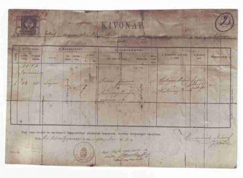 Keresztlevél 1883