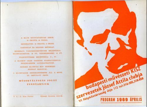 József Attila club  programfüzet