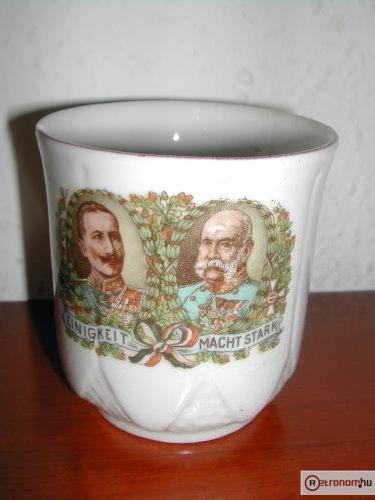 Emlékpohár Ferenc József és Vilmos császár ké