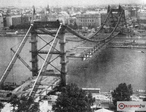 Erzsébet híd építése