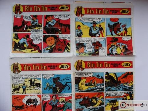 Rin-Tin-Tin rágógumi papírok