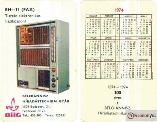 BHG 1974 kártyanaptár