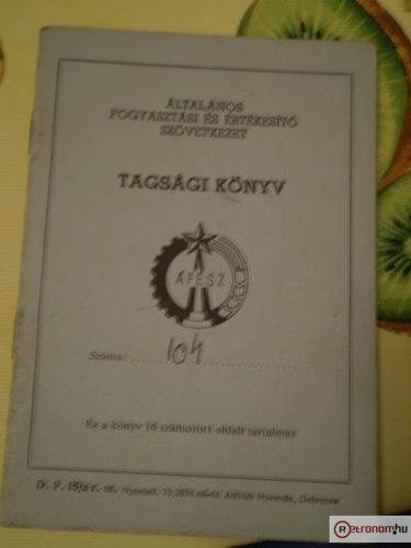 ÁFÉSZ Tagsági könyv