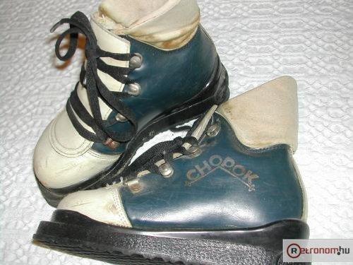 Csehszlovák gyermek sícipő bőrből