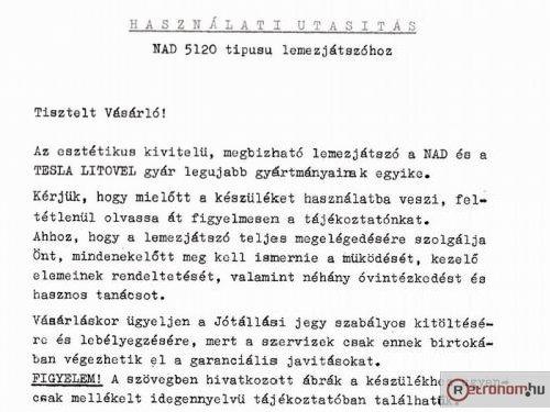 NAD 5120 magyar nyelvű leirása