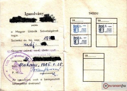 Kisdobos tagsági könyv bélyeg