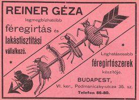 Reiner Géza féregirtó reklámja