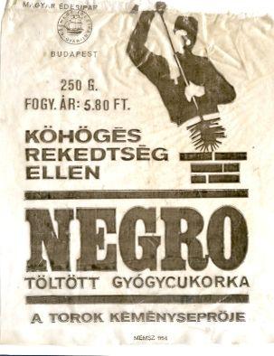 Negro cukorka zacskója