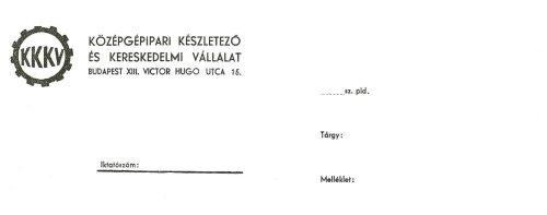 A Középgépipari Készletező és Kereskedelmi Vállalat céges levélpapírjának fejléce