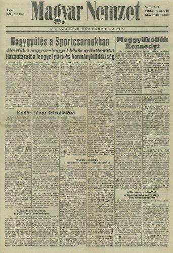 Magyar Nemzet címlapja Kennedy meggyilkolásáról