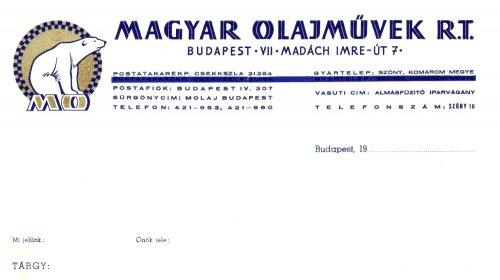 Magyar Olajművek Rt. céges levélpapírjának fejléce
