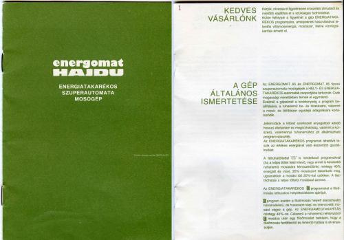 Energomat - HAJDU leírás - címlap és első oldal