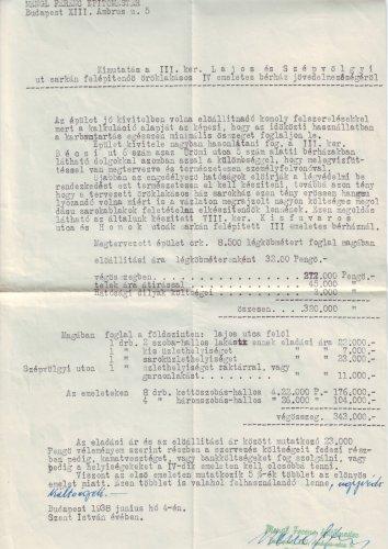 Kimutatás építendő bérház jövedelmezőségéről 1938