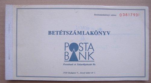 Postabank betétkönyv