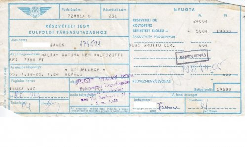 Ibusz részvételi jegy - Costa Brava