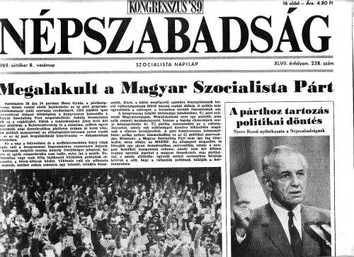 Megalakult a Magyar Szocialista Párt
