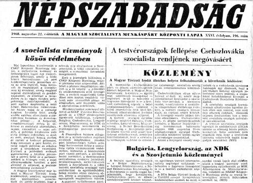 Tudósitás a Varsói Szerződés csapatainak Csehszlovákiai bevonulásáról