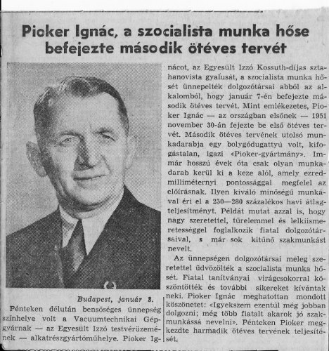 Pióker Ignác befejezte  második Ötéves tervét